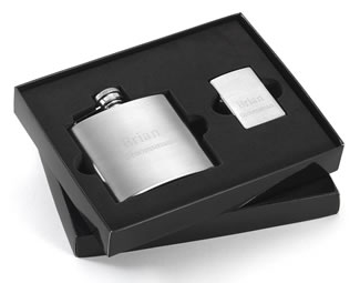 Brushed Flask and Zippo Lighter Gift Set Favors