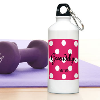 Personalized Polka Dot Pattern Aluminum  Water Bottle (6 Colors Available)