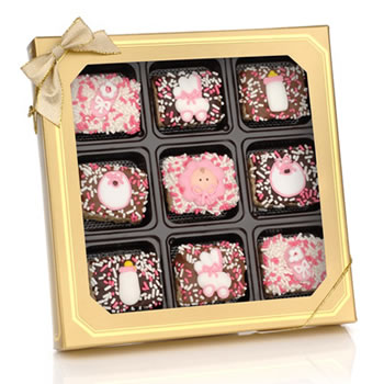 Baby Girl Chocolate Dipped Mini Crispy Rice Bars- Window Gift Box of 9