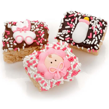 New Baby Girl Chocolate Dipped Mini Crispy Rice Bars- Individually Wrapped