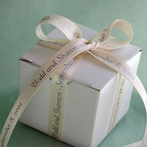 Personalized Ribbon Favors - White Satin