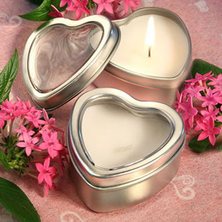 heart candle tin wedding favors unique favors