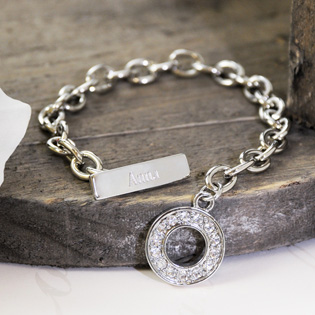 Personalized Rhinestone Toggle Bracelet