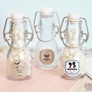 Vintage Wedding Personalized Mini Glass Bottles