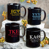 Black Ceramic Coffee Mug: Greek Designs