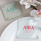 Personalized Greek Design Glass Coasters