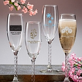 Personalized Champagne Flutes With Twisted Stem