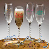 Personalized Greek Design Champagne Flutes With Twisted Stem