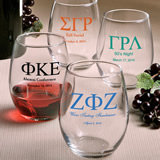 Personalized Greek Design Stemless Wine Glasses - 9 Ounce