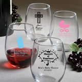 Personalized Stemless Wine Glasses - 9 Ounce - Baby Shower Designs