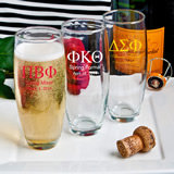 <em>Personalized Stemless Champagne Flutes - Greek Designs - Silkscreened</em>