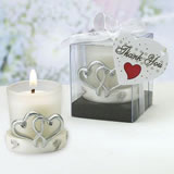 Interlocking Silver Heart Design Candleholders