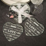 Heart Design Glass Coaster Favors (set of 2)
