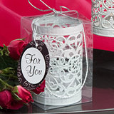 White Metal Filigree Design Luminary Lantern Favor