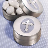 Silver Cross Design Religious Mint Tin Favors