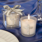 Silver Cross Themed Baptism Candle Favors