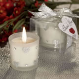 Silver Heart Design Candle Wedding Favors