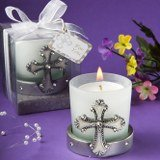 Religious Regal Favor Collection Cross Themed Candle Holders