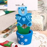 Blue teddy bear/flower pot place card/photo holder