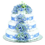 Baby Diaper Cake: Blue Hydrangeas (2 or 3 Tiers)