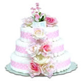 Baby Diaper Cake: Pink Roses (2 or 3 Tiers)