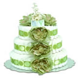 Baby Diaper Cake: Sage Green Peonies (2 or 3 Tiers)
