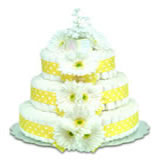 Baby Diaper Cake: Yellow Gerbera Daisies (2 or 3 Tier)