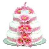 Baby Diaper Cake: Pink Daisies (2 or 3 Tiers)