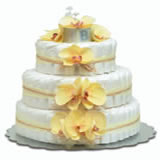 Baby Diaper Cake: Yellow Orchids (2 or 3 Tiers)