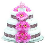 Baby Diaper Cake: Hot Pink Daisies with Leopard (2 or 3 Tiers)