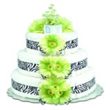 Baby Diaper Cake: Green Daisies with Zebra (2 or 3 Tears)