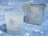 Winter Wonderland Frosted glass votive candle.