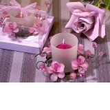 Elegant Frosted Lavender Glass Flower Candle Holde