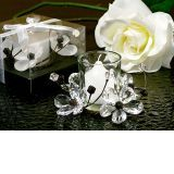 Elegant Black & White Crystals Flower Candle Holder - ON SALE