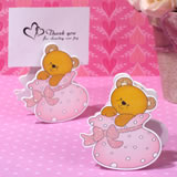 Playful Teddy Bear Place Card Holder In Pink Bootie