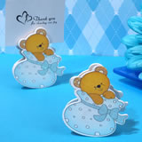 Playful Teddy Bear Place Card Holder In Blue Bootie