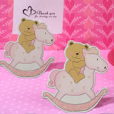 Adorable Pink Teddy Bear On Horse Place Card Holder