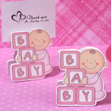 Oh How Cute Pink Baby Block Place Card Holder