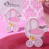 Adorable Pink Baby Stroller Place Card Holder