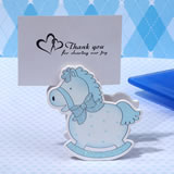 Precious Blue Rocking Horse Place Card Holder