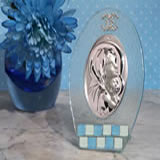 Murano oval blue and white glass icon
