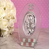 Murano oval pink and white glass icon
