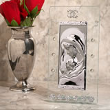 Murano bling large rectangular glass and silver icon