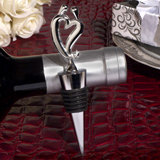 Two hearts become one silver wine stopper