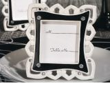 Stylish black and white epoxy place card frame favor