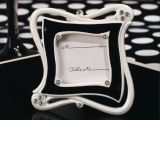 Stylish and chic black and white epoxy place card frame favor