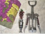 Murano art deco Grape stopper and wine opener set