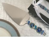 Murano art Deco cake server blue beads