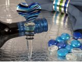 Murano art deco heart design stopper blue and silver colors