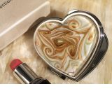 Murano art deco heart compact mirror golden brown glass